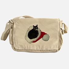 Cat Santa Hat Messenger Bag