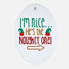 Im Nice Hes Naughty Elf Hat Ornament (Oval)