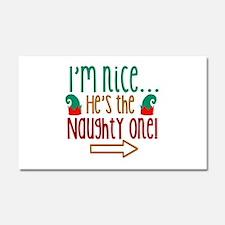 Im Nice Hes Naughty Elf Hat Car Magnet 20 x 12