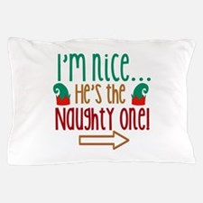 Im Nice Hes Naughty Elf Hat Pillow Case