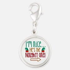 Im Nice Hes Naughty Elf Hat Silver Round Charm