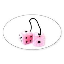 Pink Fuzzy Dice Sticker OVAL