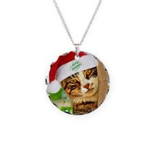 Christmas tabby cat in a tre Necklace