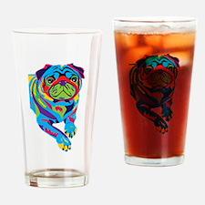 Rainbow Pug Drinking Glass