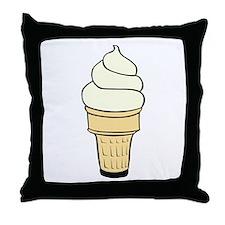 Vanilla Ice Cream Cone Throw Pillow