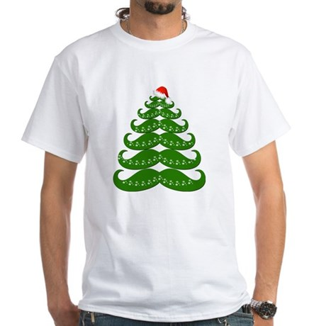 Mustache Christmas Tree with Sant White T-Shirt