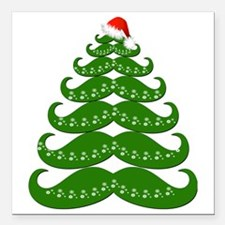 "Mustache Christmas Tree  Square Car Magnet 3"" x 3"""