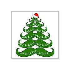 "Mustache Christmas Tree wit Square Sticker 3"" x 3"""