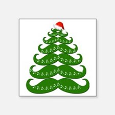 "Mustache Christmas Tree wit Square Sticker 3"" x 3"""