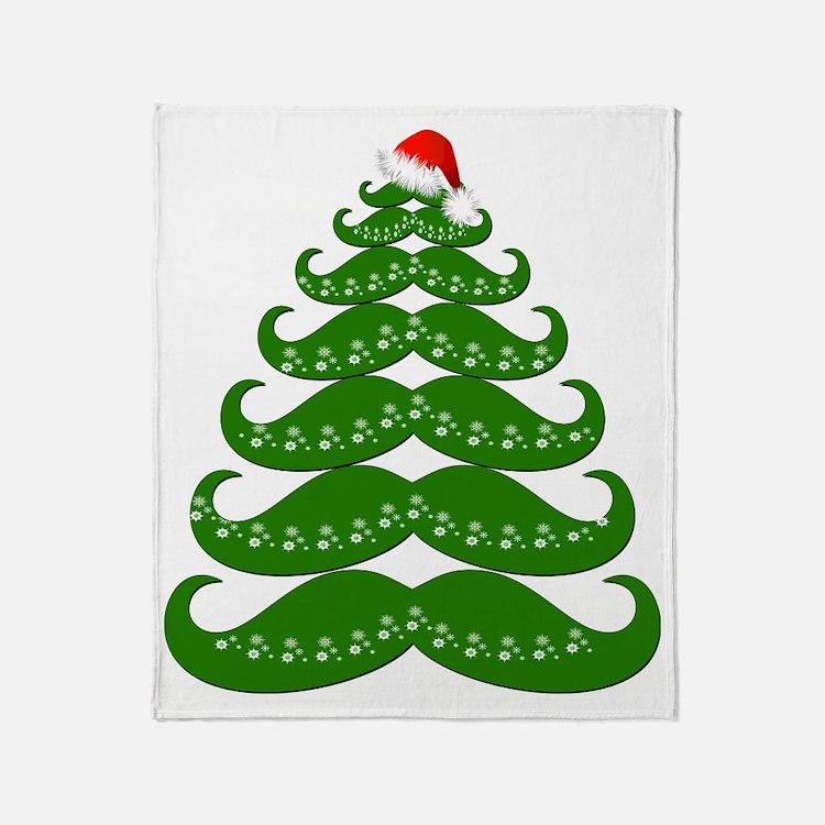 Mustache Christmas Tree with Santa H Throw Blanket