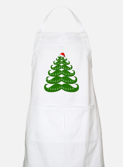 Mustache Christmas Tree with Santa Hat Apron
