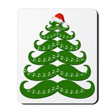 Mustache Christmas Tree with Santa Hat Mousepad