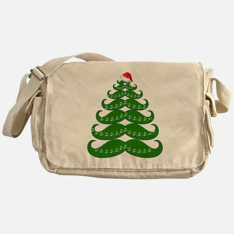 Mustache Christmas Tree with Santa H Messenger Bag