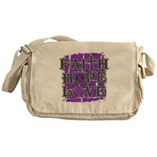 Pancreatic Cancer Faith Hope Love Messenger Bag