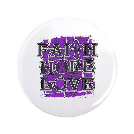 "Pancreatic Cancer Faith Hope Love 3.5"" Button"