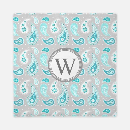 Aqua Paisley Duvet Covers, Pillow