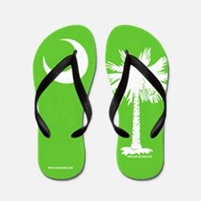 SC Palmetto Moon State Flag Green Flip Flops