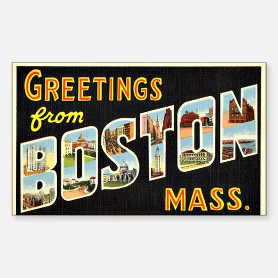Vintage: Greetings from Boston Sticker (Rectangle)