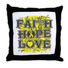 Osteosarcoma Faith Hope Love Throw Pillow