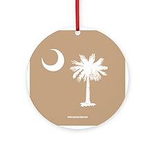 SC Palmetto Moon State Flag Tan Ornament (Round)