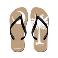 SC Palmetto Moon State Flag Tan Flip Flops