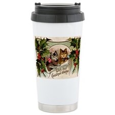 Vintage Christmas - Wit Travel Mug