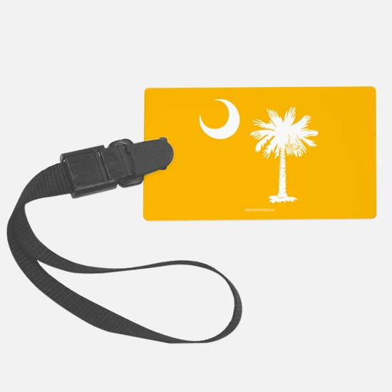SC Palmetto Moon State Flag Gold Luggage Tag