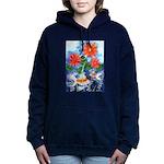 Fish and Flowers Watercolor Hooded Sweatshirt