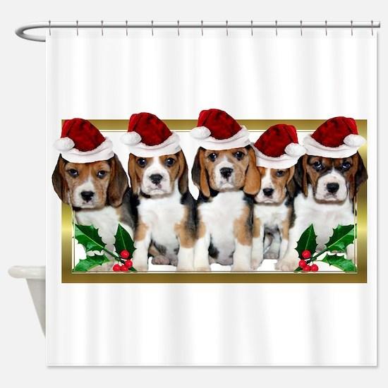 Christmas Beagles Shower Curtain