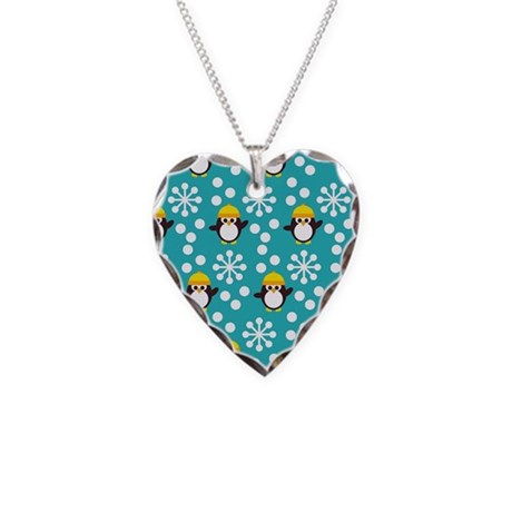 Penguins and Snowflakes Necklace Heart Charm