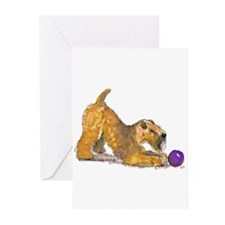 Soft Coated Wheaten Terrier with Ball Greeting Car