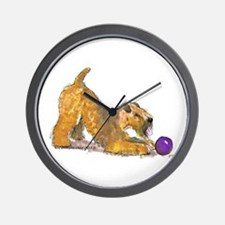 Soft Coated Wheaten Terrier with Ball Wall Clock