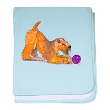 Soft Coated Wheaten Terrier with Ball baby blanket
