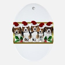 Christmas Beagles Ornament (Oval)
