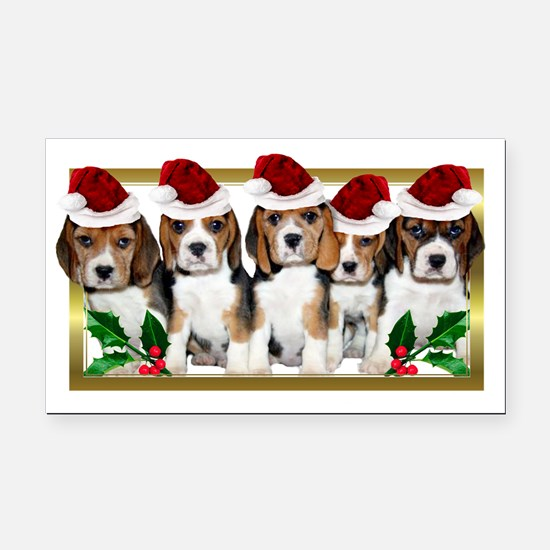 Christmas Beagles Rectangle Car Magnet