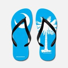 SC Palmetto Moon State Flag Blue Flip Flops
