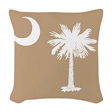 SC Palmetto Moon State Flag Tan Woven Throw Pillow