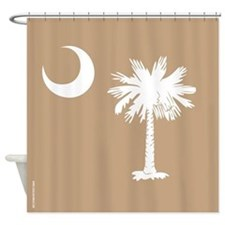 SC Palmetto Moon State Flag Tan Shower Curtain