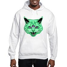 Hiss Cat Green Hoodie