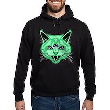 Hiss Cat Green Hoody