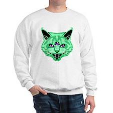 Hiss Cat Green Sweatshirt