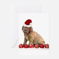 Christmas Dogue de Bordeaux puppy Greeting Cards
