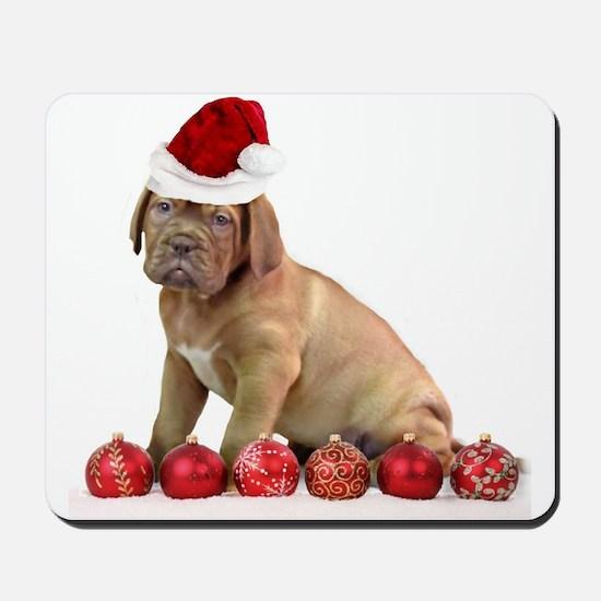Christmas Dogue de Bordeaux puppy Mousepad