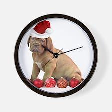 Christmas Dogue de Bordeaux puppy Wall Clock