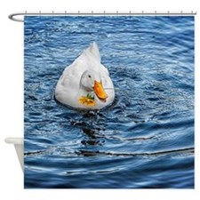 SHOWER CURTAIN: Duck Holding Flower