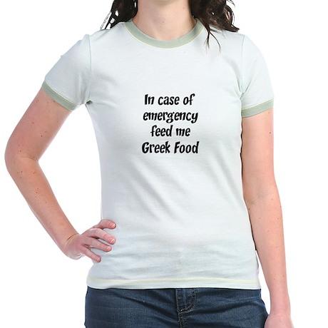Feed me Greek Food Jr. Ringer T-Shirt