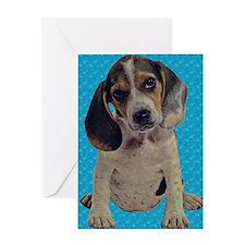 Vintage Beagle Puppy Greeting Card