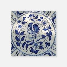 "Vintage Blue Rooster Square Sticker 3"" x 3"""