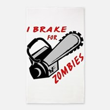 I Brake For Zombies 3'x5' Area Rug
