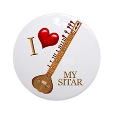 I Love My SITAR Ornament (Round)